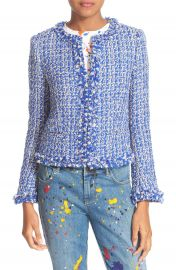 Alice   Olivia Nila Frayed Hem Boxy Jacket at Nordstrom