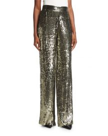 Alice   Olivia Racquel High-Waist Wide-Leg Sequin Pants   Neiman at Neiman Marcus