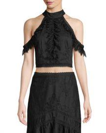 Alice   Olivia Regina Cold-Shoulder Lace Crop Top at Neiman Marcus