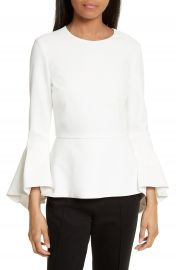 Alice   Olivia Ruby Bell Sleeve Peplum Top at Nordstrom