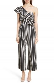 Alice   Olivia Sabeen Ruffle Stripe Crop Jumpsuit at Nordstrom