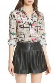 Alice   Olivia Santana Silk Shirt at Nordstrom