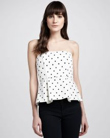Alice   Olivia Sinclair Strapless Polka-Dot Peplum Top at Neiman Marcus