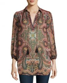 Alice   Olivia Sterling Half-Placket Tunic Top  Multiprint   Neiman Marcus at Neiman Marcus