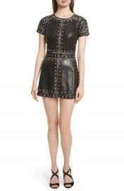 Alice   Olivia Tahlia Embellished Leather Panel A-Line Dress at Nordstrom