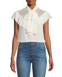 Alice   Olivia Terry Tie-Neck Ruffle Blouse at Neiman Marcus