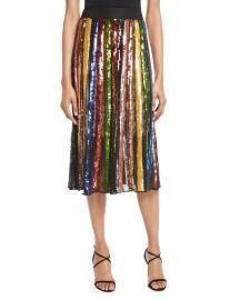 Alice   Olivia Tianna High-Rise Sequin Lace Midi Skirt   Neiman Marcus at Neiman Marcus