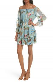 Alice   Olivia Waylon Off the Shoulder Blouson Dress at Nordstrom