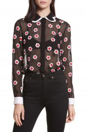 Alice   Olivia Willa Print Sheer Blouse at Nordstrom