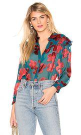 Alice   Olivia Ziggy Ruffle Sleeve Blouse in Daisy Teal  amp  Cherry from Revolve com at Revolve