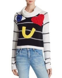 Alice   Olivia Zita Eye Heart You Embellished Sweater at Bloomingdales