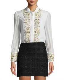 Alice   Olivia Zita Pearlescent-Embroidered Button-Front Blouse at Neiman Marcus