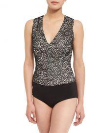 Alice   Olivia Zooey Lace V-Neck Bodysuit  Black White at Neiman Marcus