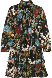 Alice Olivia Breann tiered floral-print satin-crepe dress at Net A Porter
