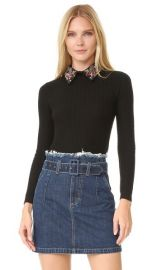 Alice Olivia Brooke Embroidered Bird Collar Sweater at Shopbop