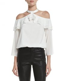 Alice Olivia Layla Cold-Shoulder Ruffle Blouson Top at Neiman Marcus