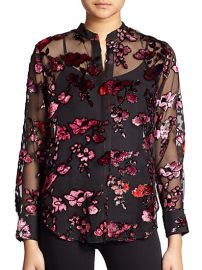 Alice and Olivia - Floral Velvet-Flocked Sheer Chiffon Shirt at Saks Fifth Avenue
