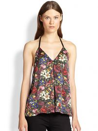 Alice and Olivia - Guenda Leather-Trim Silk Tank Top at Saks Fifth Avenue