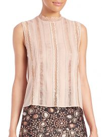 Alice and Olivia - Rhona Sleeveless Mockneck Lace-Trim Blouse at Saks Fifth Avenue