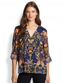 Alice and Olivia - Rolled Sleeve Butterfly Blouse at Saks Fifth Avenue