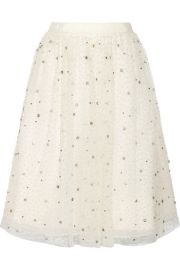 Alice and Olivia  Catrina embellished tulle and organza skirt at Net A Porter