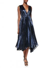 Alice and Olivia Alessandra Pleated Metallic Asymmetric Gown at Neiman Marcus