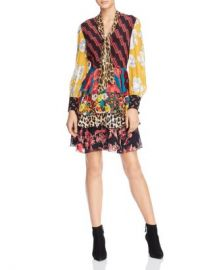 Alice and Olivia Alice   Olivia Dasha Mixed-Printed Tie-Neck Tiered Dress  Women - Bloomingdale s at Bloomingdales