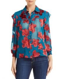Alice and Olivia Alice   Olivia Ziggy Ruffled Floral Burnout Blouse  Women - Bloomingdale s at Bloomingdales