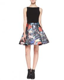 Alice and Olivia Amabel Floral Box-Pleat Dress at Neiman Marcus