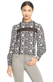 Alice and Olivia Angeline Stretch Silk Top at Nordstrom