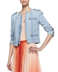 Alice and Olivia Cam Round-Neck Denim Jacket at Neiman Marcus