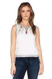 Alice and Olivia Cecille Embellished Crop Top at Revolve