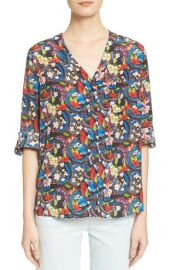 Alice and Olivia Colby Floral Print Silk Blouse at Nordstrom