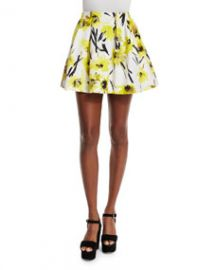 Alice and Olivia Connor Floral Lampshade Skirt Multicolor at Neiman Marcus