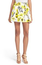 Alice and Olivia Connor Floral Print Miniskirt in Daisy at Nordstrom