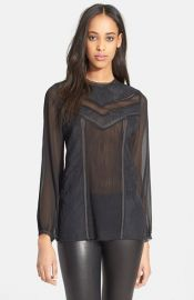 Alice and Olivia Dayna Lace Inset Blouse at Nordstrom