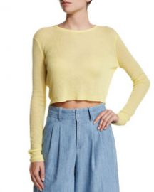 Alice and Olivia Eamon Sheer Cropped Sweater Yellow at Neiman Marcus