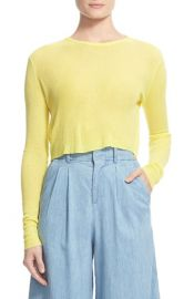Alice and Olivia Eamon Sheer Rib Crop Top at Nordstrom