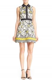 Alice and Olivia Ellis Daisy Jacquard Fit and Flare Dress at Nordstrom
