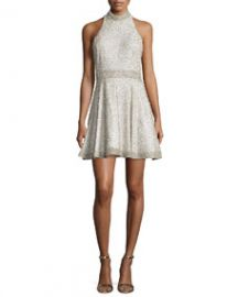 Alice and Olivia Hollie Embellished Fit-and-Flare Dress Off White at Neiman Marcus