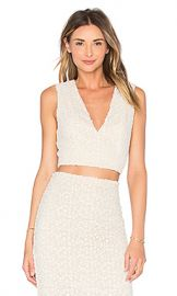 Alice and Olivia Jaya Top in White and Natural from Revolvecom at Revolve