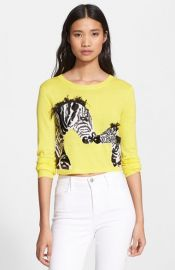 Alice and Olivia Khan Sequin Zebra Crop Wool Sweater at Nordstrom