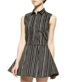 Alice and Olivia Lea Striped Fitted Sleeveless Blouse at Neiman Marcus