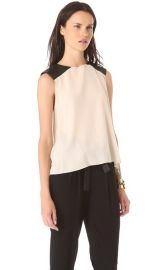 Alice and Olivia Leather Shoulder Muscle Tee at Shopbop