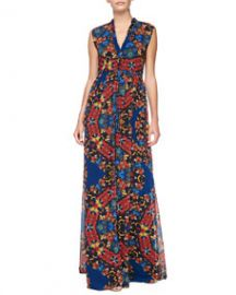 Alice and Olivia Marianna Printed Button-Front Maxi Dress at Neiman Marcus