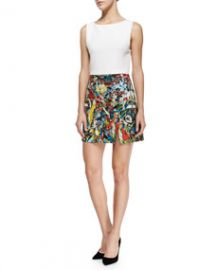 Alice and Olivia Molly SolidPrinted Slit Dress at Neiman Marcus