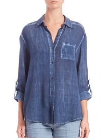 Alice and Olivia Piper Crinkled Button-Down Shirt at Saks Fifth Avenue