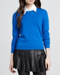 Alice and Olivia Roney Elbow-Patch Sweater Blue at Neiman Marcus