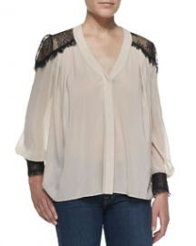 Alice and Olivia Sofia Georgette and Lace V-Neck Blouse at Neiman Marcus