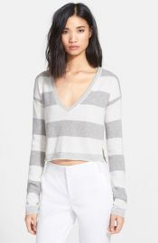 Alice and Olivia Stripe Crop Sweater at Nordstrom